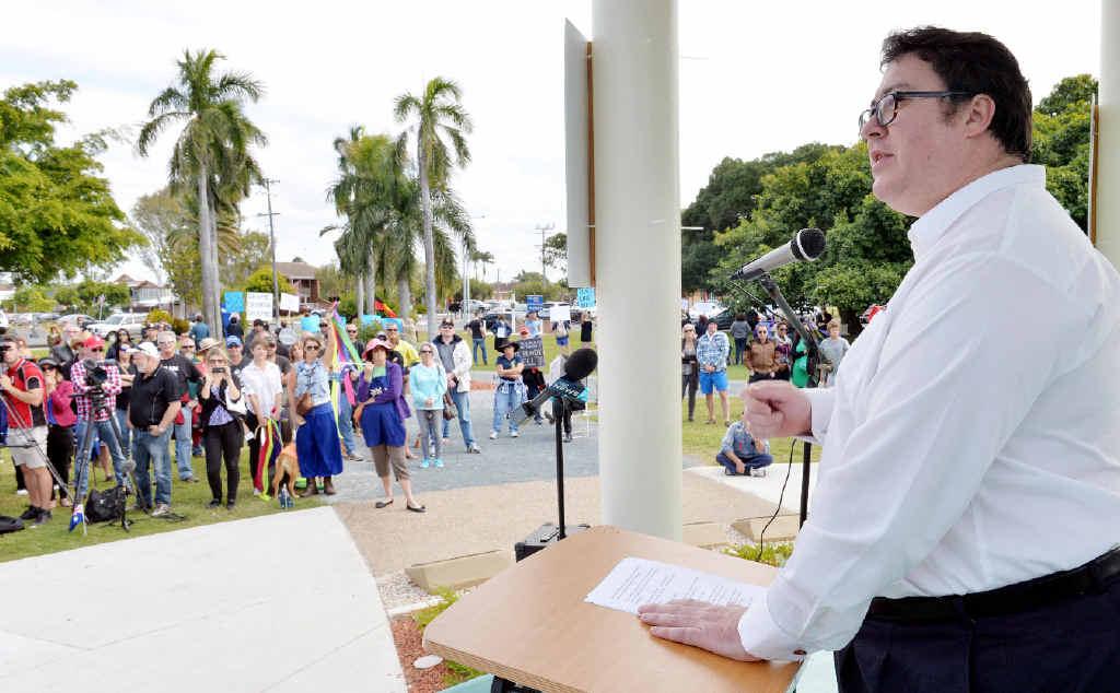 CONTROVERSIAL: George Christensen at Reclaim Australia Rally in Mackay on Sunday. PHOTO: TONY MARTIN