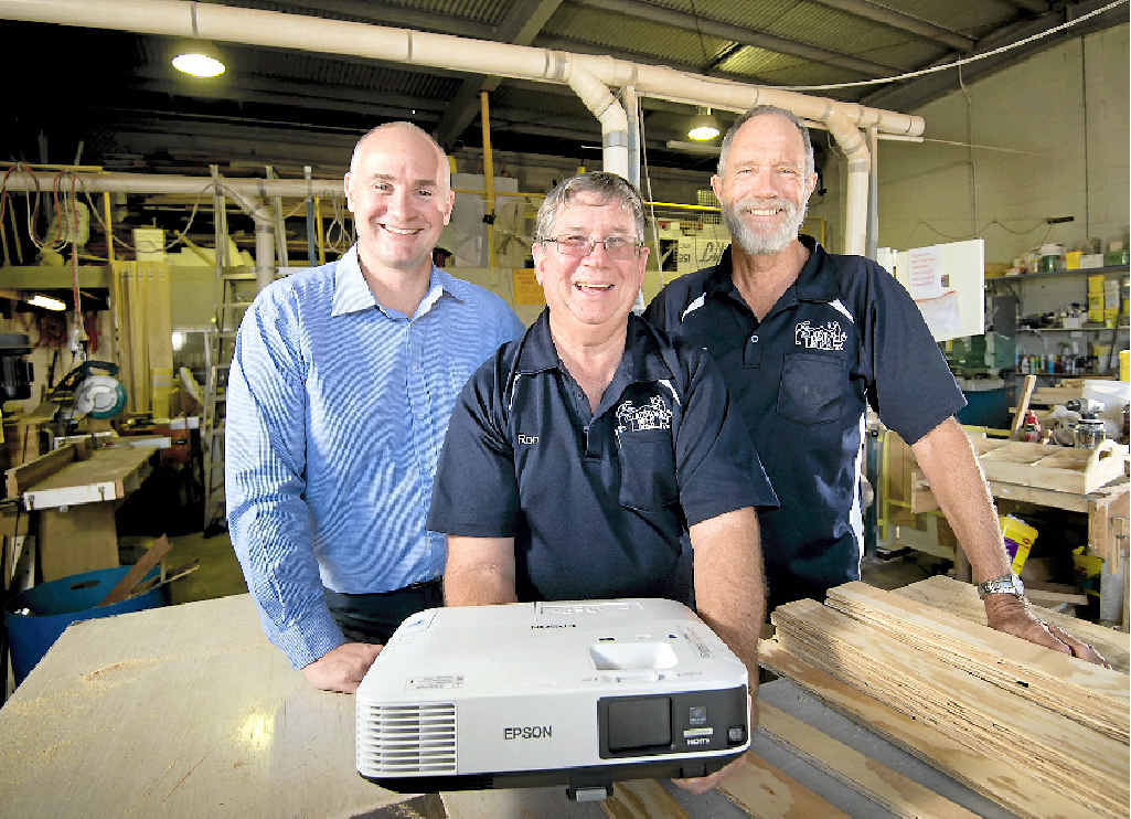 TECH IT OUT: A State Government grant has allowed the Men's Shed to buy some much-needed equipment. State MP Glenn Butcher, Gerry Graham and Ron Steen show off the new projector.