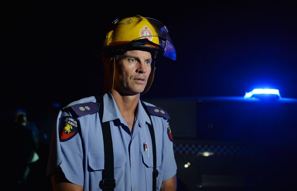 North Mackay Station Officer Rod Simpson at the Farleigh House fire.