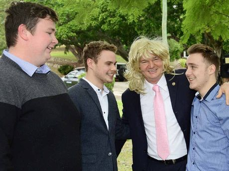 JUST JOKING: Ipswich Mayor Paul Pisasale held a press conference with GenY Podcast members Ben Boughen, Connor Fairclough and Thomas Doherty to defuse the situation after he mocked Jo-Ann Miller in a podcast.