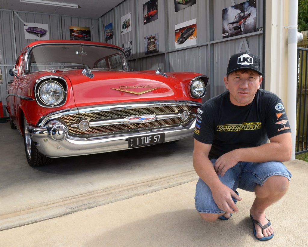 TUFF STUFF: Felix Defai has a 57 Chev and has been invited to MotorEx in Sydney to show it off this month. Apparently it is a very prestigious car event that is invite only. Photo: Max Fleet / NewsMail