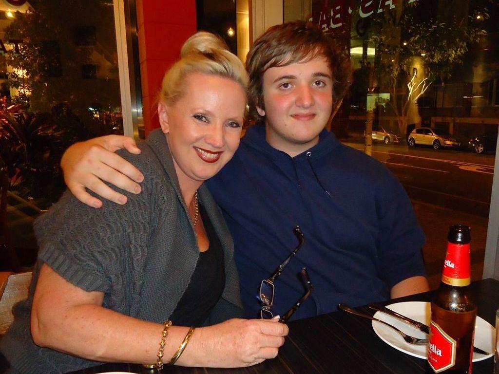 CLOSE BOND: Sunrise Beach crash victim Lynette Raines enjoys a meal with her son Ross Raines.