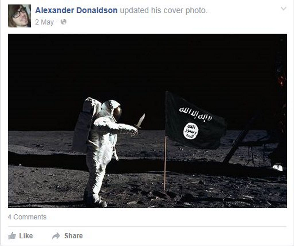 ISIL FLAG: One of the images Alexander Donaldson posted to his public Facebook page in recent months.