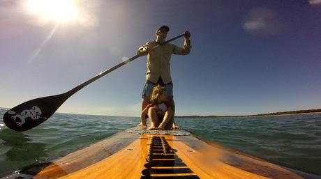 Josh Herbert takes his daughter Claudia stand up paddle boarding.