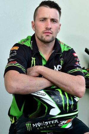 NOT IMPRESSED: Professional motocross rider Jake Moss is not happy after his twin brother, Matt, broke his leg when a digger drove onto the track and caused a crash.