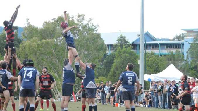 The line-out jumpers fly high in the local derby between Snappers and Marlins.