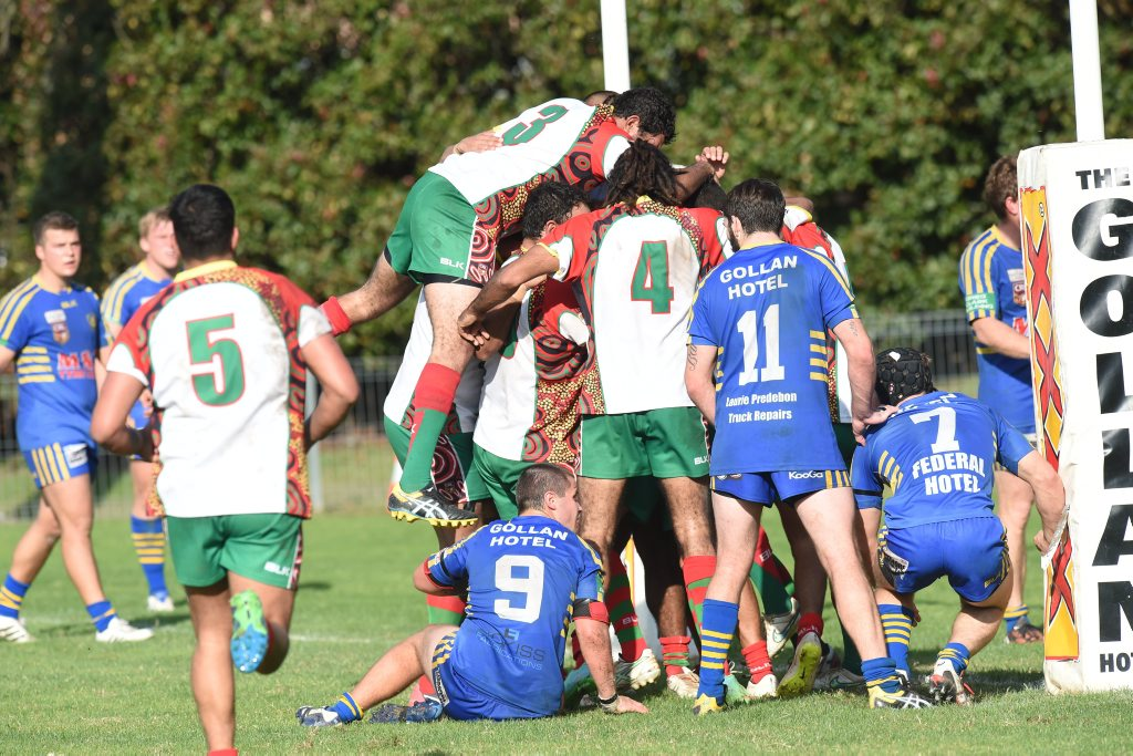 Northern United players celebrate a try during the match against Marist Brothers at Crozier Field in Lismore.