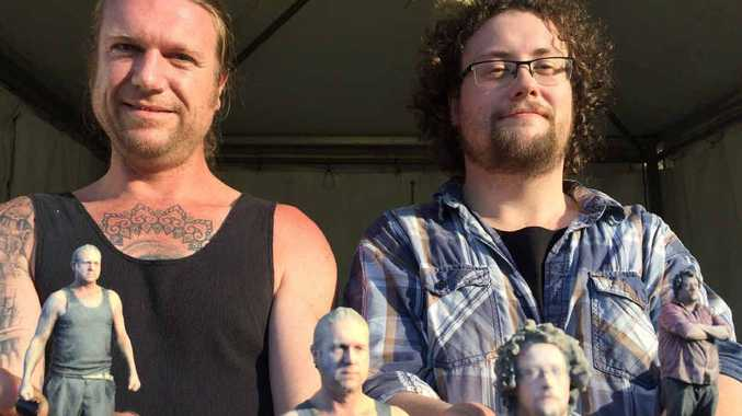 MINI MES: Hobart-based business partners Don Darkson and Jonathan 'JC' Calvin showing off their 3D models of themselves at Splendour in the Grass 2015.