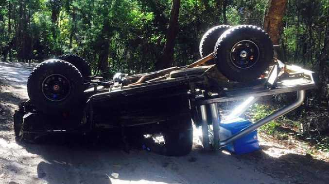 LUCKY TO BE ALIVE: Sunshine Coast residents Taylor Moss and her boyfriend, Cahil Parkes, have survived a rollover near Rainbow Beach. PHOTOS: CONTRIBUTED