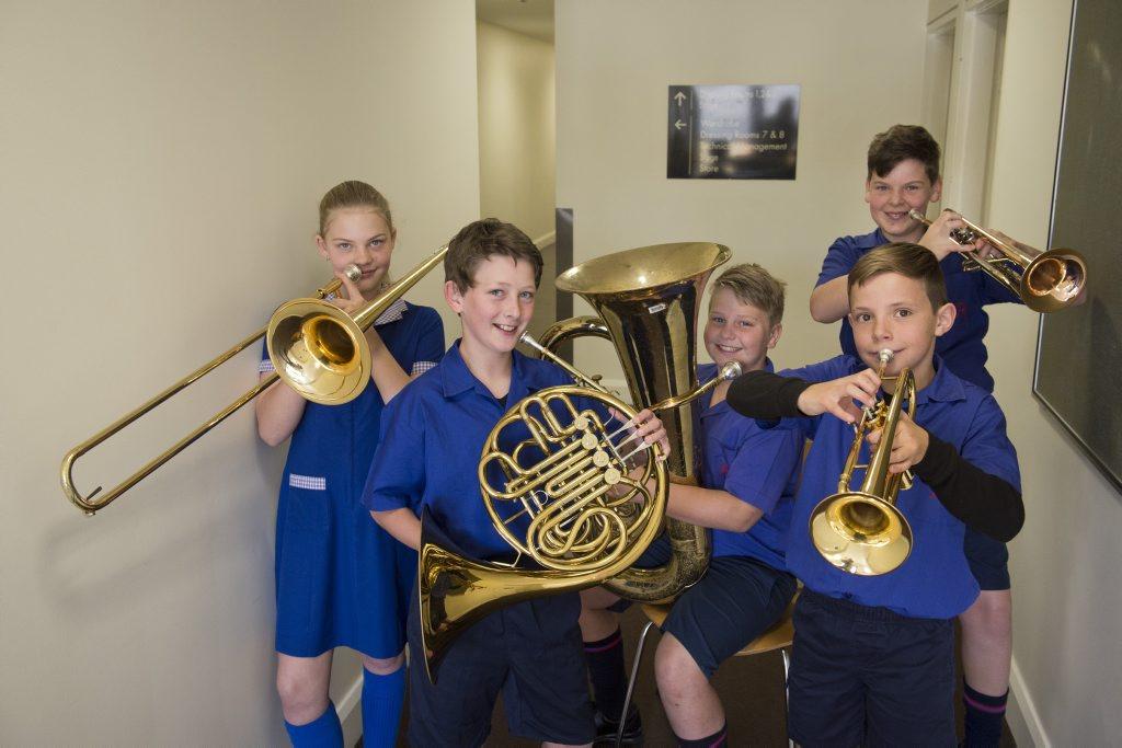 Rangeville State School brass ensemble (from left) Lucinda Allon, Jack Bunter, Michael Weldon, Alex Chersini and Toby Thelander (back) at the City of Toowoomba Eisteddfod.