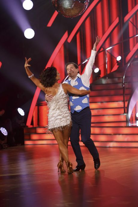 John Paul Young with dance partner Giselle Peacock in a scene from episode 2 of Dancing With The Stars. Contributed ch7.