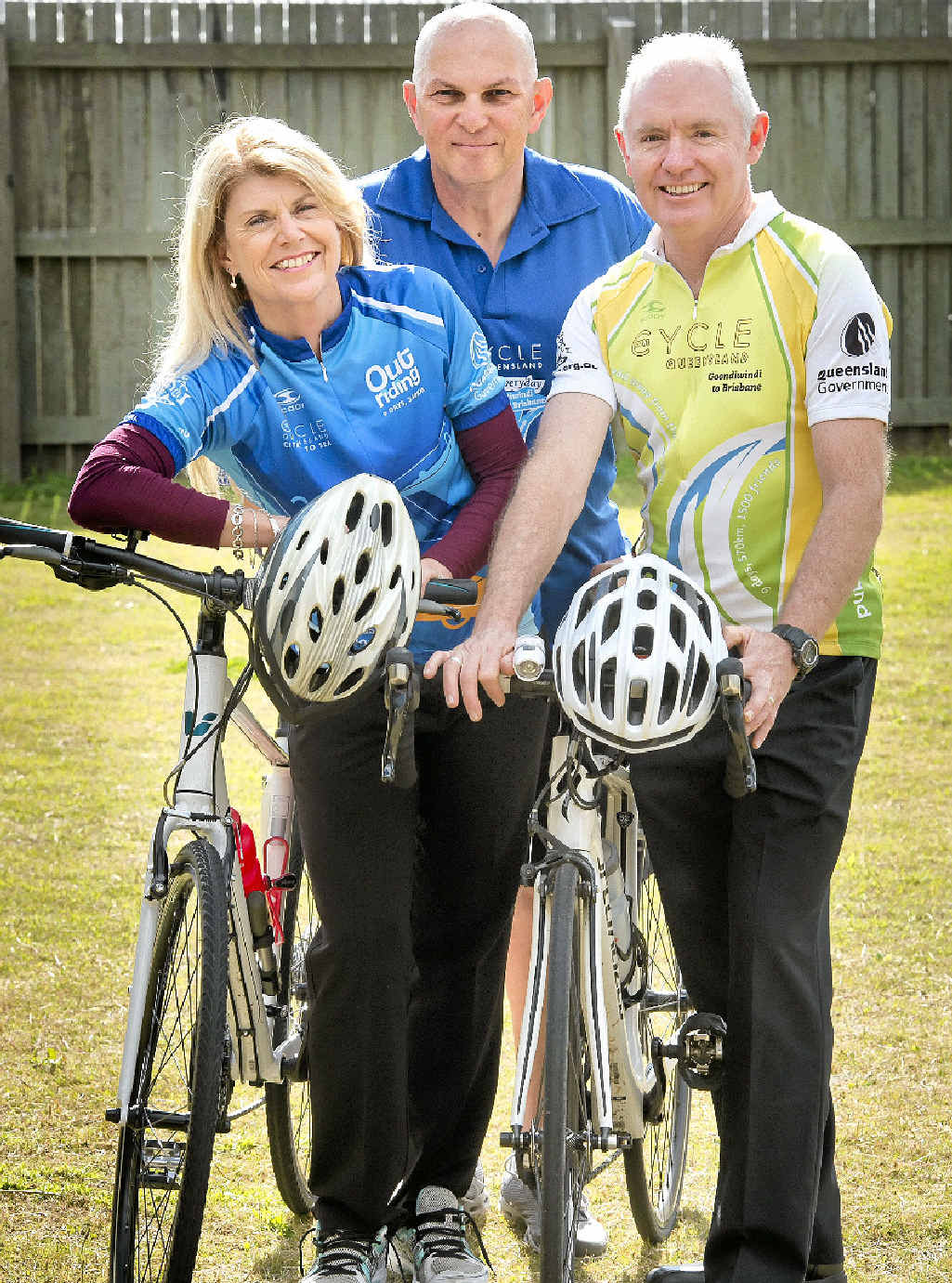 OUTDOOR ADVENTURE: Getting ready for the Cycle Queensland Adventure Tour are (from left) Kim Passante, Jack Passante and Paul Jeffery.
