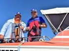 Victor Guse (left) and his mate Brent Pumpa had a close call with a breaching whale while out fishing. Photo: Che Chapman / Sunshine Coast Daily