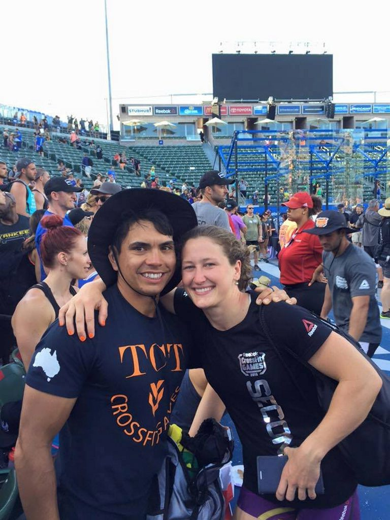 Tia-Clair Toomey and her partner Shane Orr at the CrossFit Games.