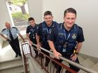 NEW RCRUITS: Inspector Paul Biggin welcomes three new police recruits, Const Marcus Austin, Const Darren Rudling and Const Joe Harris who are starting at the Bundaberg Police. Photo: Max Fleet / NewsMail