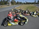 V8 driver James Courtney with Ryan Suhle, Oscar Targett, Jai Brown and Cadel Courtney from JC Kart. Photo Inga Williams / The Queensland Times