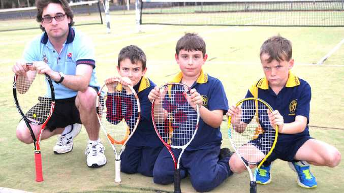 SAD STATE: Tennis coach Matthew Bourke, with players Harry Humphries, Harry Russell and Lincoln Tate, says his club is in desperate need of funds.