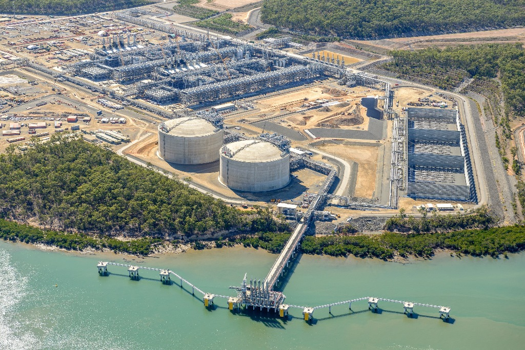 An aerial view of the APLNG site on Curtis Island, Gladstone, in July 2015. The flares can be seen in the bottom right corner.
