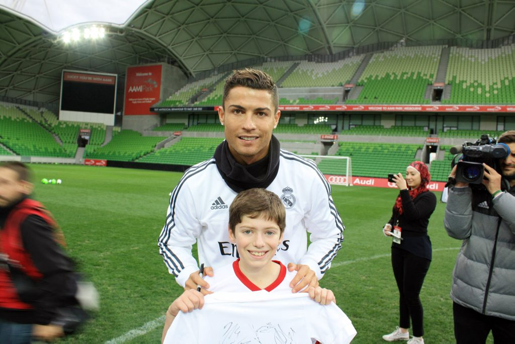 DREAM MEETING: Middlemount's Patrick Slater with his hero Christiano Ronaldo.