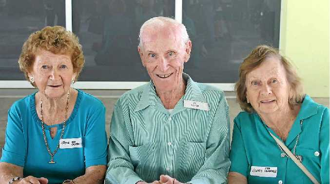 ORIGINAL STUDENTS: Joyce Dale, Vic Gibbon and Gloria Foley sat at this desk 75 years ago.