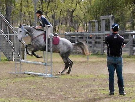 Elise Kirkwood riding her horse Jack.