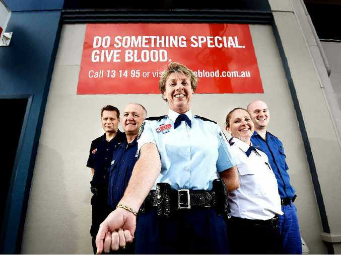 GIVE IT UP: Northern Rivers Fire and Rescue duty officer Inspector Phil Sheedy, Fire and Rescue Lismore station officer Ian Grimwood, Inspector Nicole Bruce, NSW Ambulance acting duty operations manager Tracey Wheeler, and NSW Ambulance acting station officer Lismore Richard Brand give blood at Lismore.