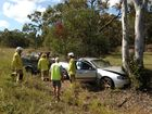 Single vehicle crash involving a ute that has smashed into a gumtree on Hervey Bay Meryborough Road.