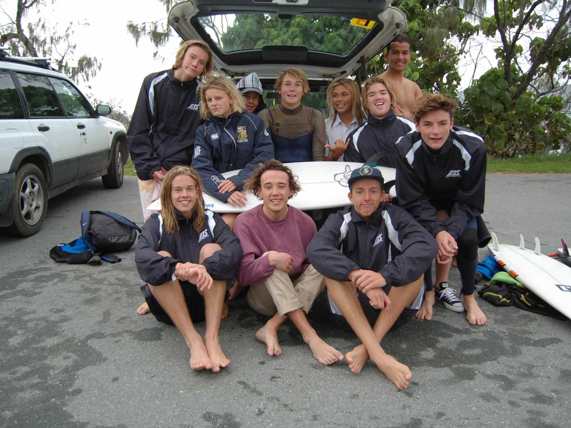 Sunshine Beach High Excellence in Surfing students (in no order) Callum Everson, Harper Bennell, Tyler Jeffs, Saxon Hansson, Buster Barton, Will Mappin, Miguel Neto, Hayden Roffaut, Josh Hardy, Schaulk van de Merwe, and Oscar O'Connell.