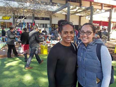 Nyssa Blades and Hannah Weribone at yesterday's USQ NAIDOC Week celebrations.