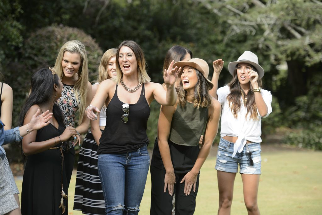 Krystal Steele of Cannonvale, Queensland, second from left, pictured with other bachelorettes on the TV series The Bachelor.