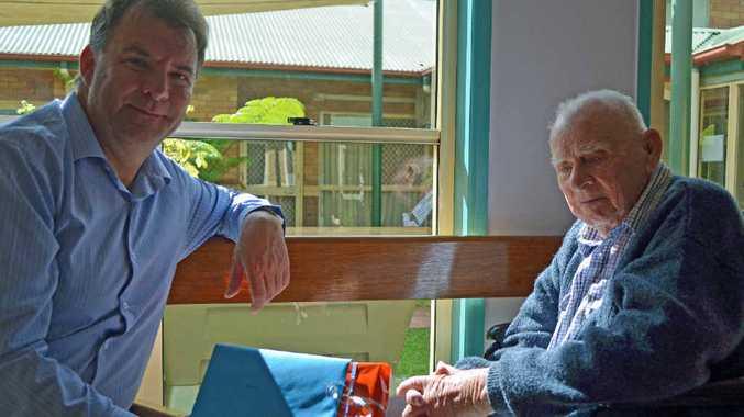 LEFT, HAPPY BIRTHDAY: Noel Schmidt celebrating turning 101 with a visit from Member for Burnett Stephen Bennett.