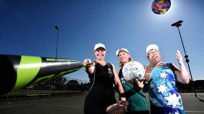 WOMEN RULE: Masters Games sportswomen Renae Blaikie, Virginia Waters and Kathy Claydon are looking forwrd to hitting the sports fields.