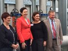 Mackay Regional Council mayor Deirdre Comerford, Queensland Premier Annastacia Palaszczuk, Mackay MP Julieanne Gilber and Mackay Regional Council councillor Frank Gilbert.