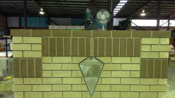 Tyson Johnstone used his bricklaying skills to build this artistic wall.