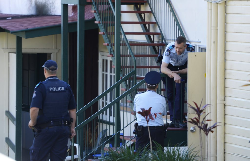 Police at a property on Milford Street where a man barricaded himself in a bedroom. Photo: Rob Williams / The Queensland Times