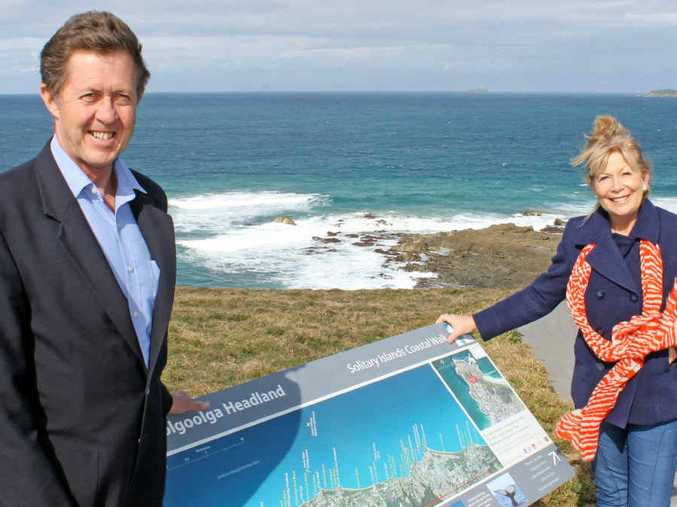 NEW SIGHTS: Member for Cowper Luke Hartsuyker and Mayor Denise Knight announce a $25,000 whale platform for Woolgoolga.