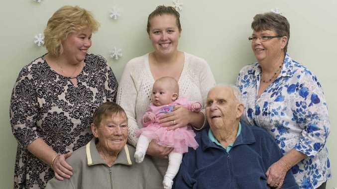 ALL IN THE FAMILY: (back l-r) Karen McSwan, Sasha Martin, Robyn Moran, (front l-r) Kay and Sid Richards with baby Emily Martin, the fifth generation of the family.
