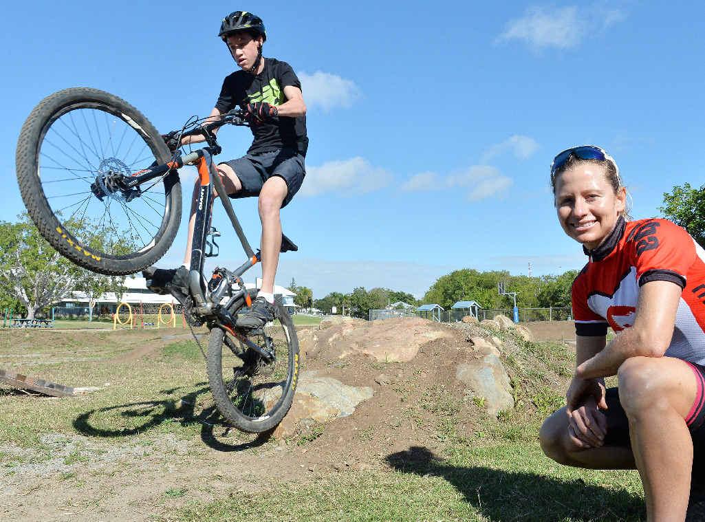 FUTURE STAR: Mackay Christian College student and mountain bike star Mitchel Braak with Mountain Bike Australia coach Jodie Willett.