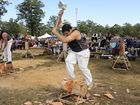 NSW state title woodchop competitor Chris Owen during the 11th Glenreagh Timber Festival on Saturday, 25th July 2015. Photo Debrah Novak / The Daily Examiner