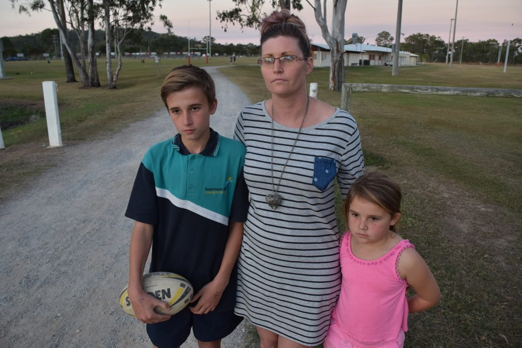 FIX THE PROBLEM: Mother Sarah Bax wants a solution to the lack of water on the Seagulls fields where her children Cooper, 12 and Ebony, 8, play, before there are any serious injuries.