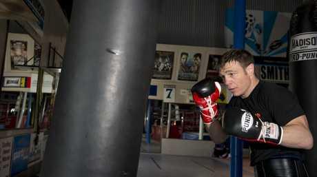 BAG WORK: Michael Katsidis trains in Toowoomba.
