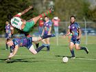 Northern United Djann Jarrett and Nathan Walmsely in action at the game, Northern United vs Evans Head at Crozier field in Lismore. Photo Mireille Merlet-Shaw / Northern Star