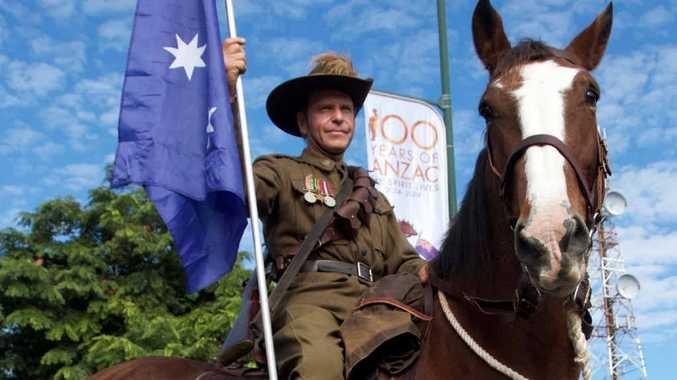 "RIDING HIGH: Allan Reardon sits proudly on his ""Waler"" waiting to lead 150 horsemen for the 2015 Centenary Anzac Day march in Grafton. Photo: Debrah Novak"