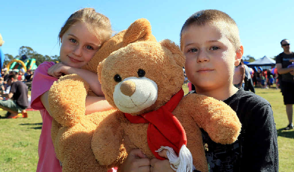 DAY OF FUN: The kids can make their own teddy bears at Pialba Place Shopping Centre today and tomorrow. Pictured is Krystal and Aidan Harvey from Hervey Bay at the 2015 Teddy Bears' Picnic. File picture.