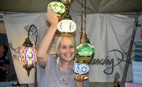 BRIGHT STALL: Amanda Gorr of Dancing Pixie proudly displays her Turkish lighting, which comes in myriad colours, shapes, and sizes.