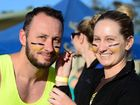 Jason Merrifield gets his war-paint on from Jen Crawford, part of team The E-lemon-ators.