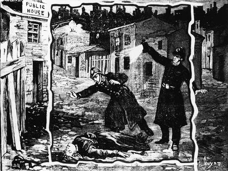 An illustration shows police officers discovering the body of one of the Ripper's victims