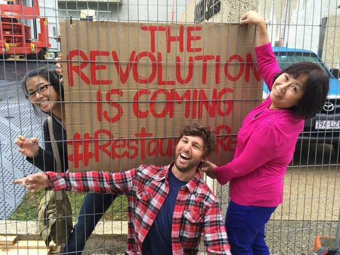 Restaurant Revolution contestants Justine Yeong, John McIntosh and Maggie Yeong outside their pop-up restaurant Puerto in Brisbane.