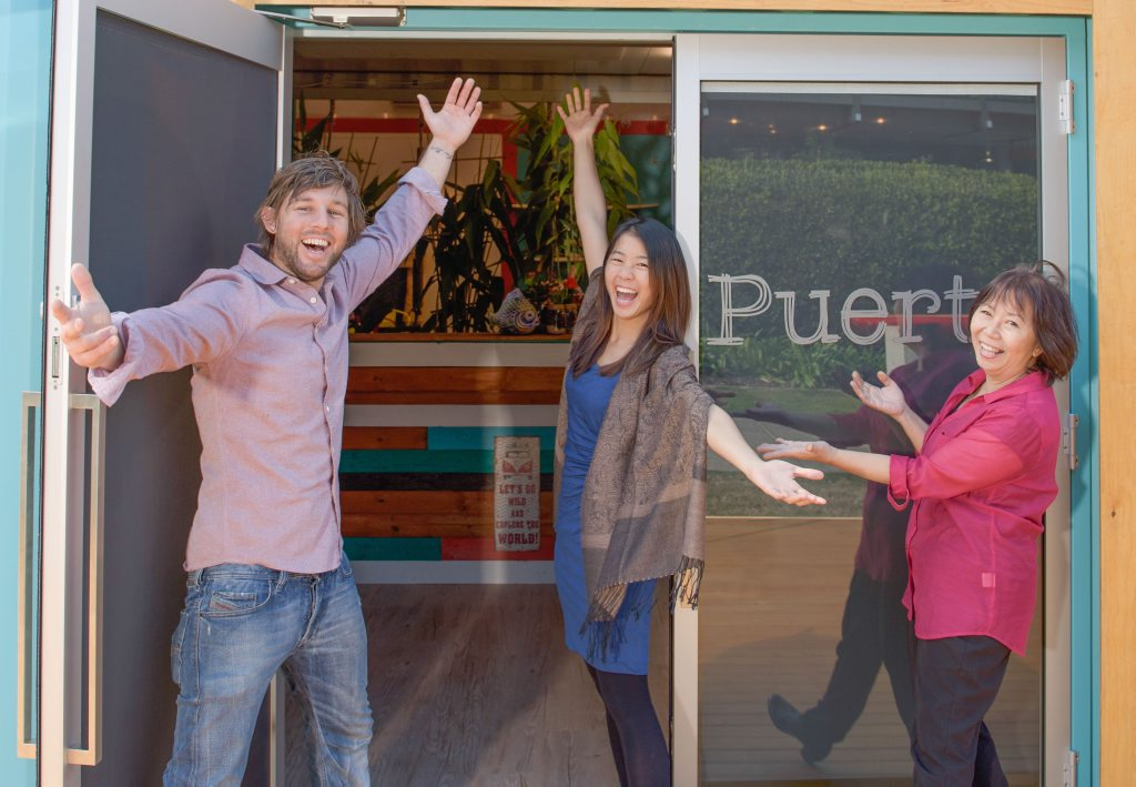 Restaurant Revolution contestants John McIntosh, Justine Yeong and Maggie Yeong outside their popup restaurant Puerto. Photo supplied by Channel 7.