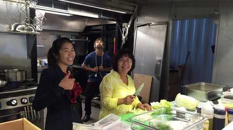 Restaurant Revolution contestants John McIntosh, Justine Yeong and Maggie Yeong inside their pop-up restaurant Puerto.